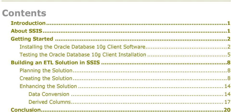 .. 2 Testing the Oracle Database 10g Client Installation.