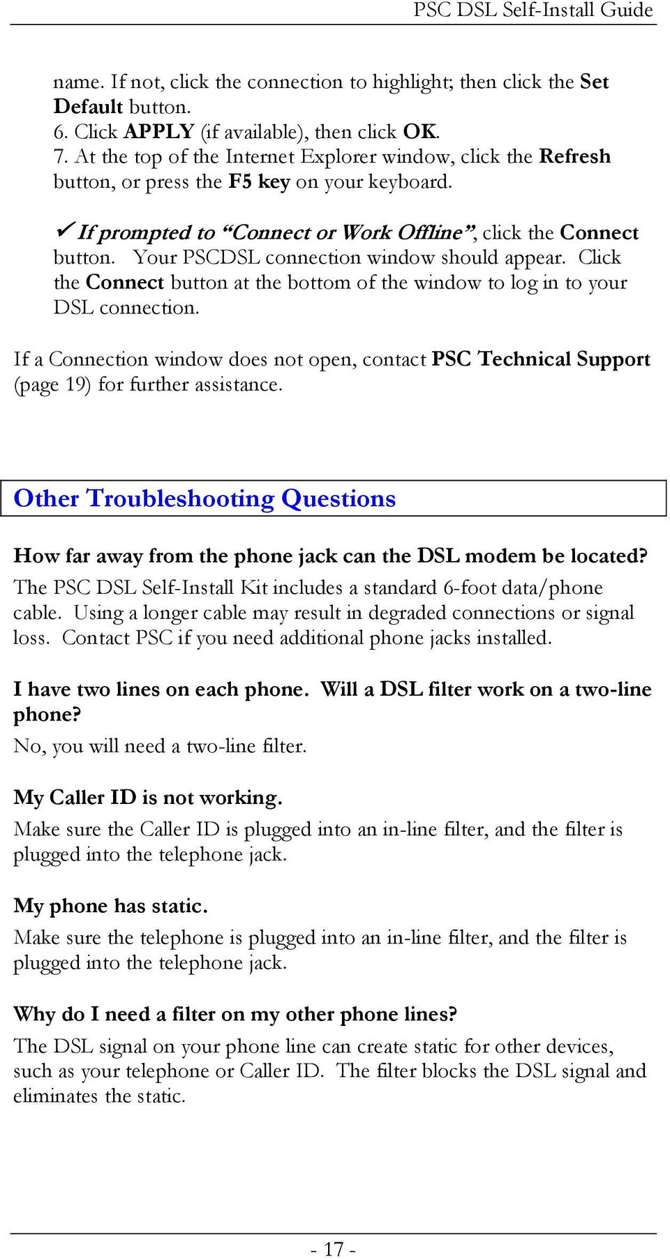 Psc Defective Customer Equipment Return Policy Pdf Jack Wiring For Phone In Addition How To Install A New Line From Your Pscdsl Connection Window Should Appear Click The Connect Button At Bottom Of