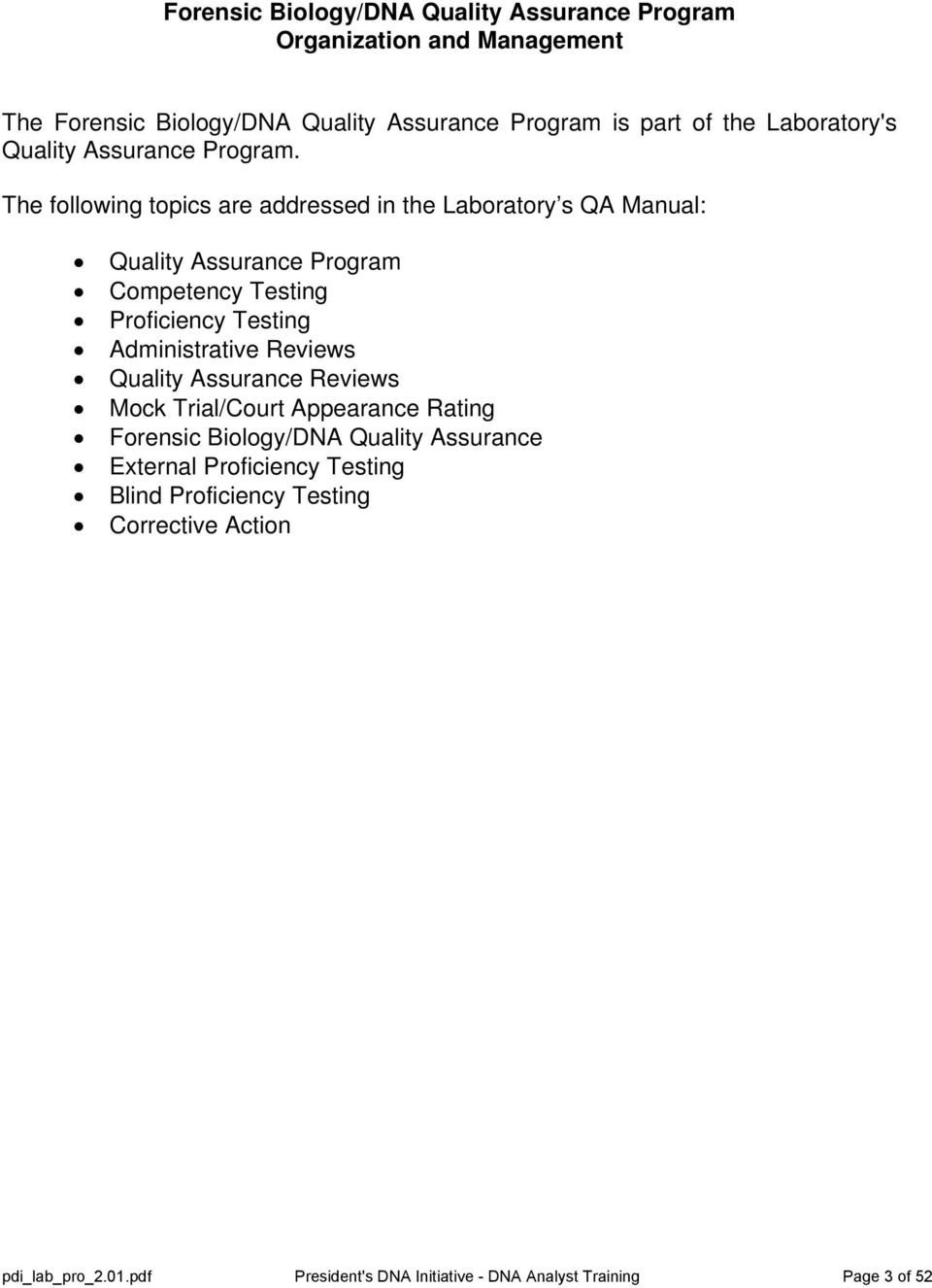 Dna Analyst Training Laboratory Training Manual Protocol 2 01 Quality Assurance Pdf Free Download
