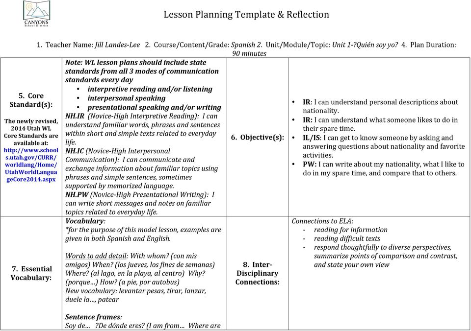 Lesson Planning Template & Reflection - PDF