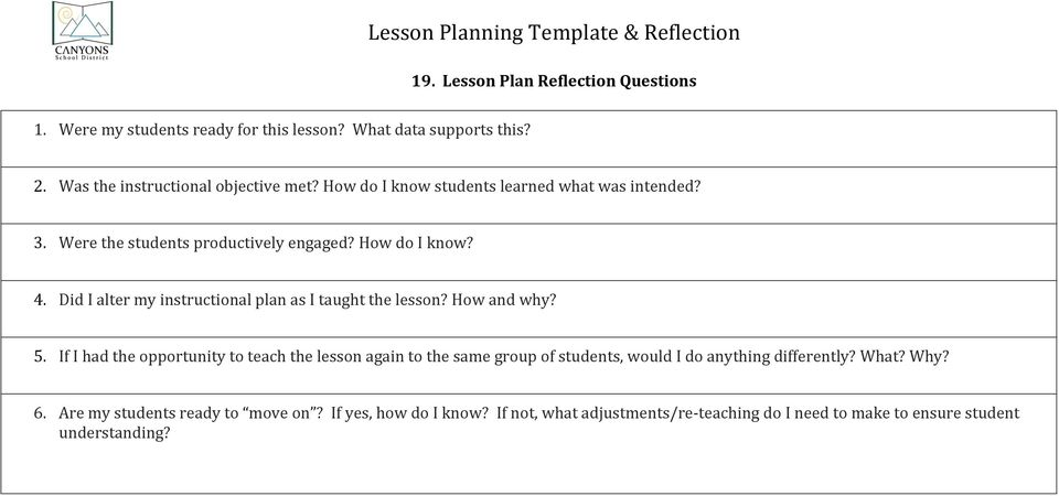 Lesson Planning Template Reflection PDF