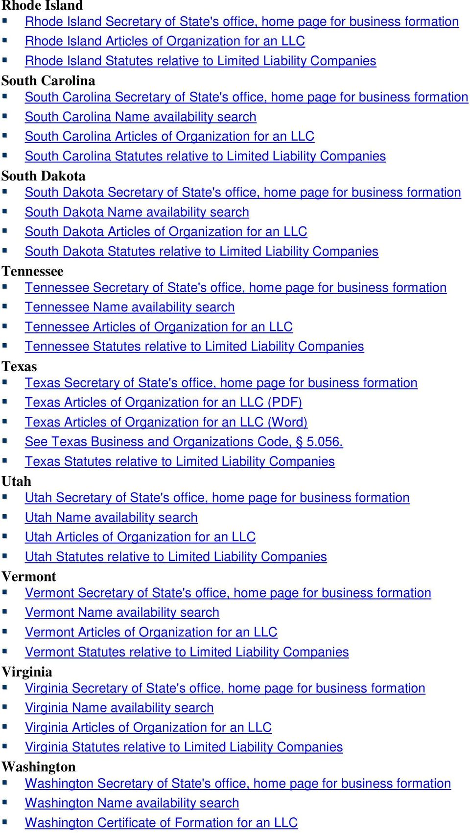Statutes relative to Limited Liability Companies South Dakota South Dakota Secretary of State's office, home page for business formation South Dakota Name availability search South Dakota Articles of