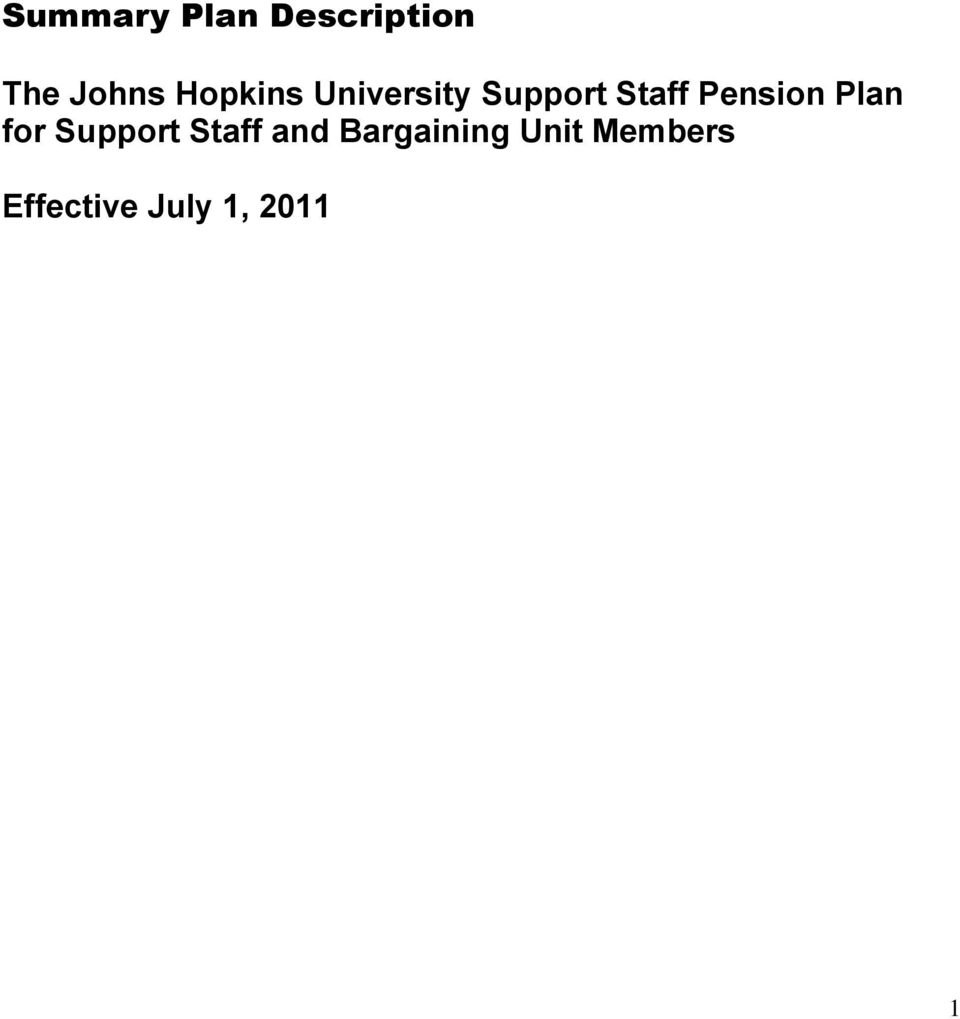 Pension Plan for Support Staff and