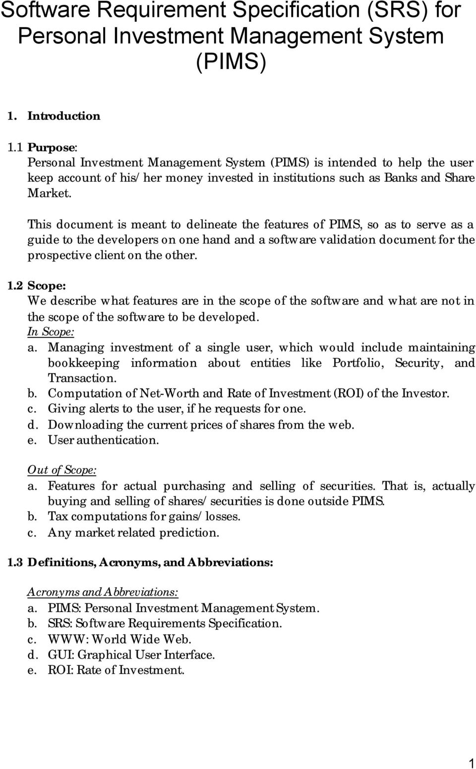 Software Requirement Specification SRS For Personal Investment - Requirement specification