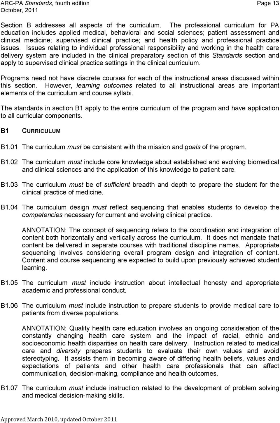 Accreditation Standards For Physician Assistant Education Pdf Free Download