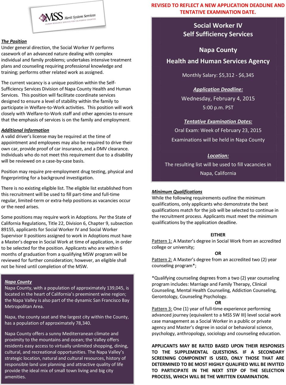 Social Worker Iv Self Sufficiency Services Napa County Health And
