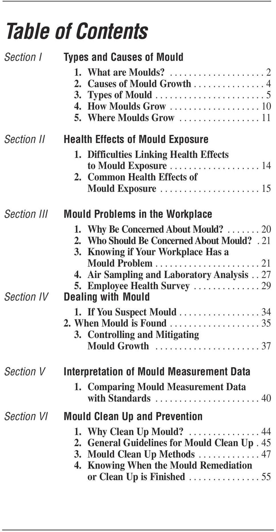 Difficulties Linking Health Effects to Mould Exposure................... 14 2. Common Health Effects of Mould Exposure..................... 15 Mould Problems in the Workplace 1.