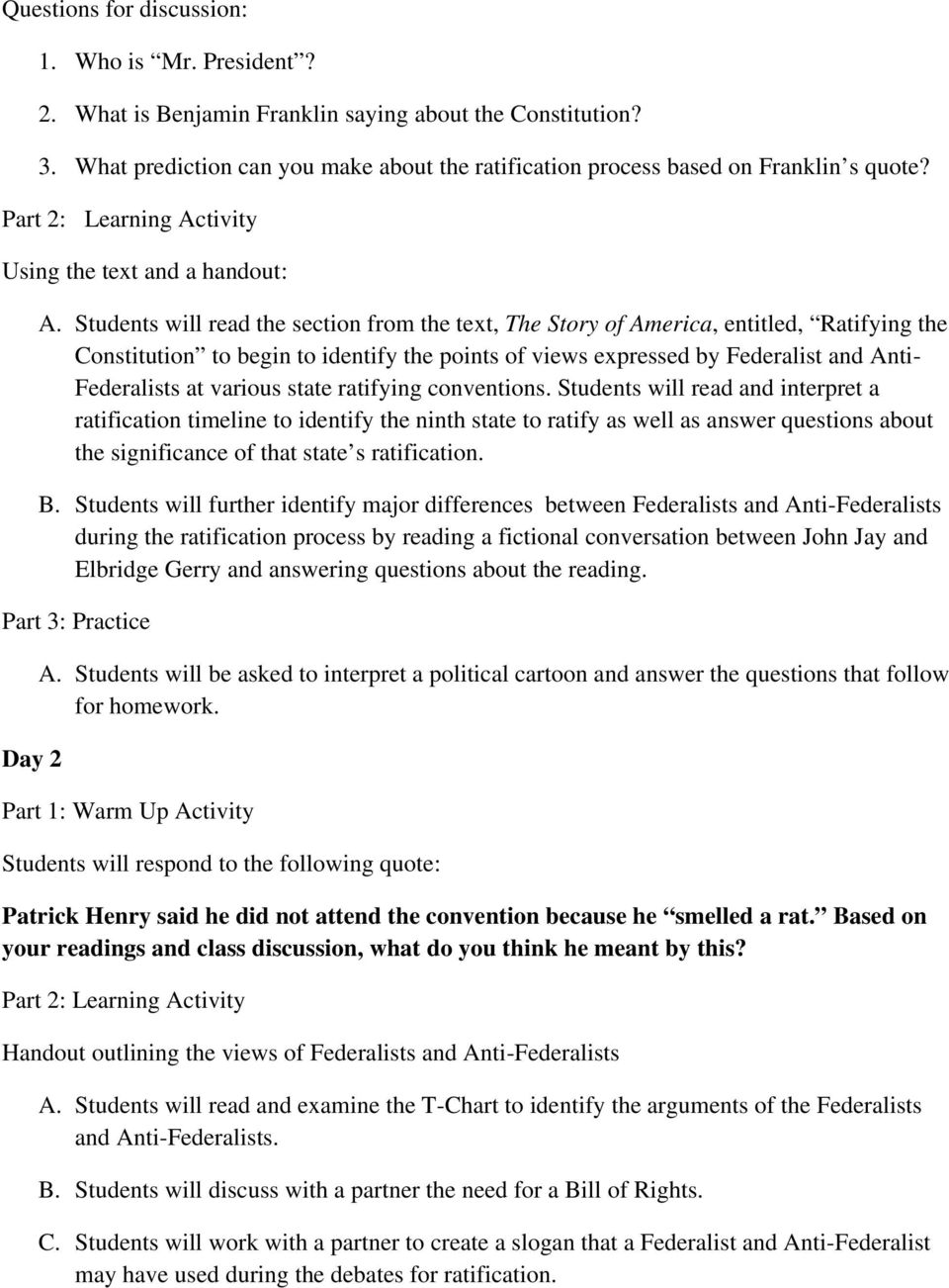 To Ratify Or Not To Ratify Federalists V Anti Federalists Debates Pdf