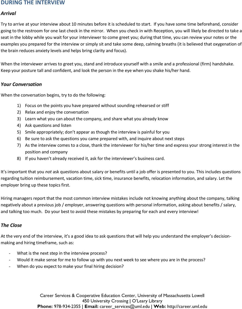 The Job Interview Before, During and After - PDF