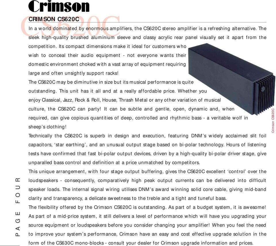 Crimson Audio Pre And Power Amplifiers With Attitude Pdf Tda7294 Amplifier Circuits P Marian Its Compact Dimensions Make It Ideal For Customers Who Wish To Conceal Their Equipment