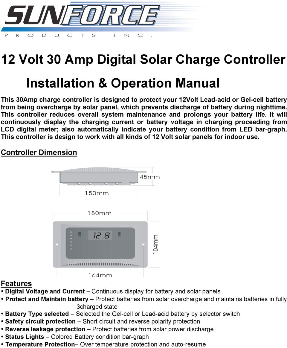 12 Volt 30 Amp Digital Solar Charge Controller Installation Pwm Missouri Wind And It Will Continuously Display The Charging Current Or Battery Voltage In Proceeding From Lcd