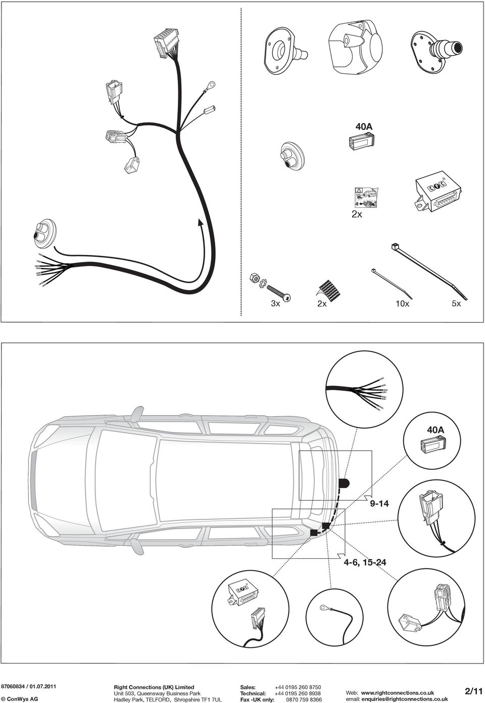Fitting Instructions Ford Important Electric Wiring Kit For Towbars 7 Pin Towbar Electrics Diagram 5x 40a 9 14