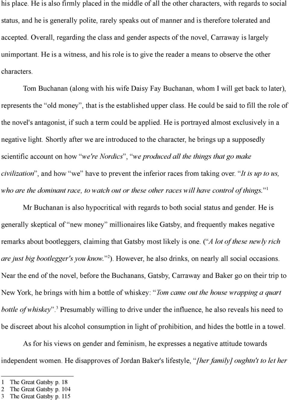 class and gender in the great gatsby pdf