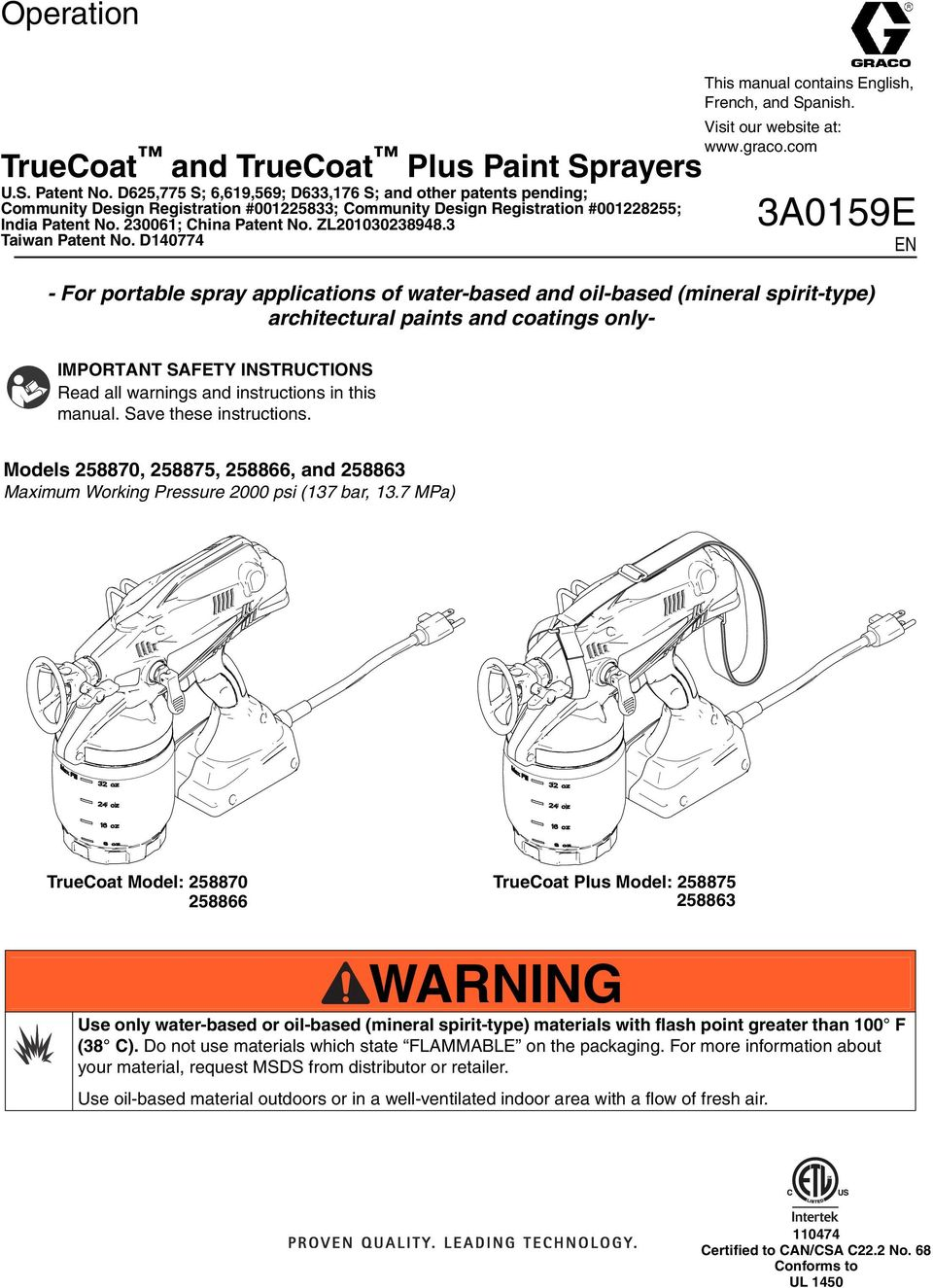 ZL201030238948.3 Taiwan Patent No. D140774 This manual contains English, French, and Spanish. Visit our website at: www.graco.