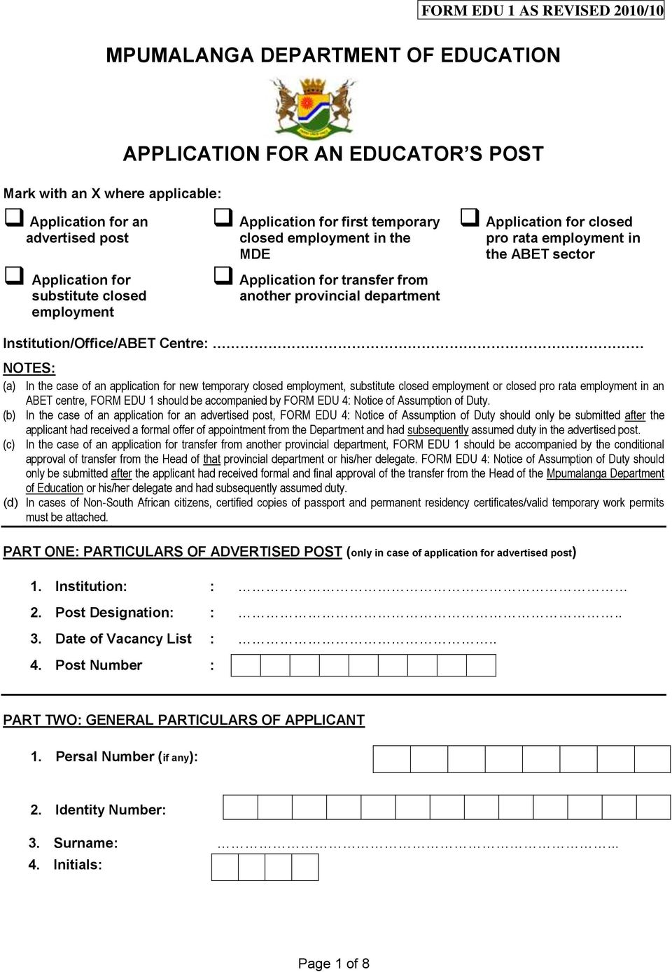 MPUMALANGA DEPARTMENT OF EDUCATION APPLICATION FOR AN