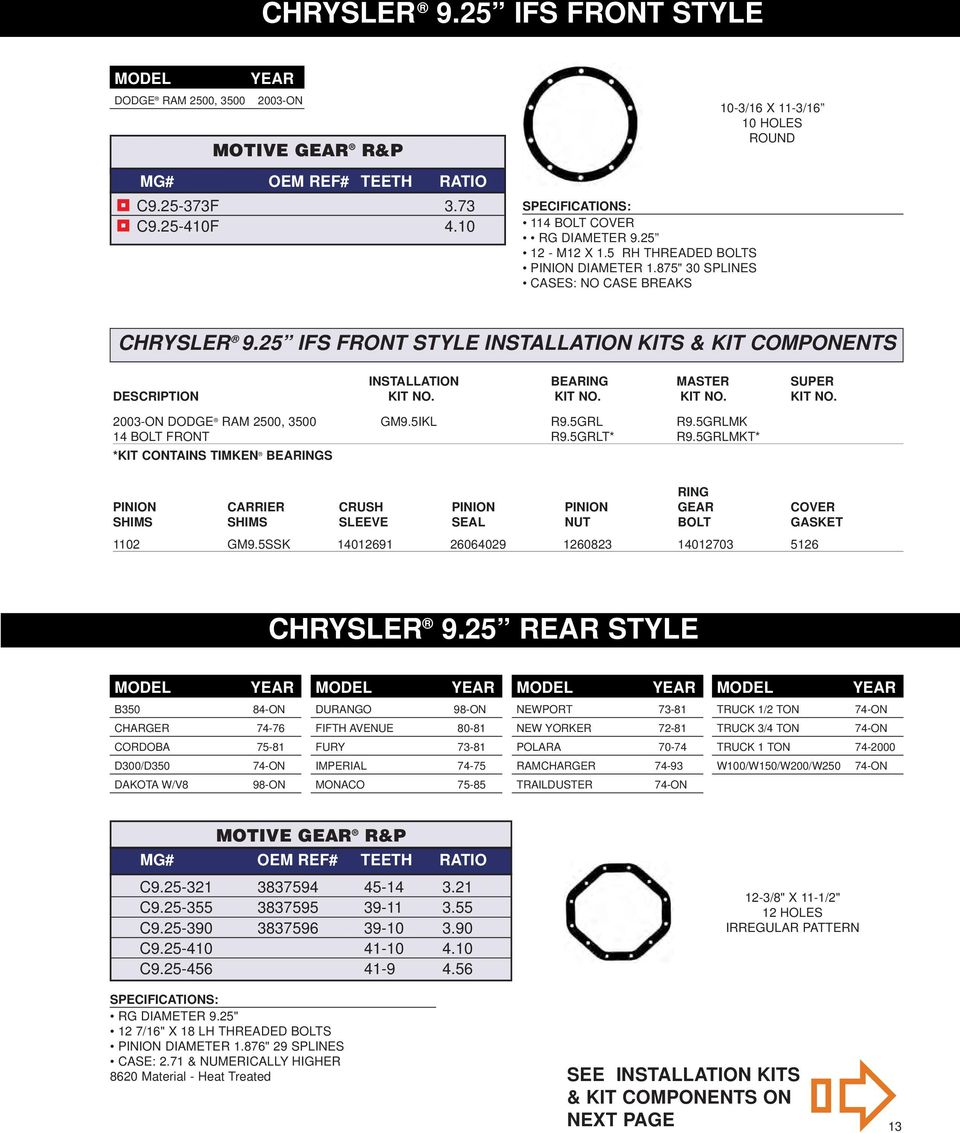 """39-11 Teeth Chrysler 7.25/"""" Motive Gear C7.25-355 3.55 Ratio Performance Ring and Pinion Differential Set"""