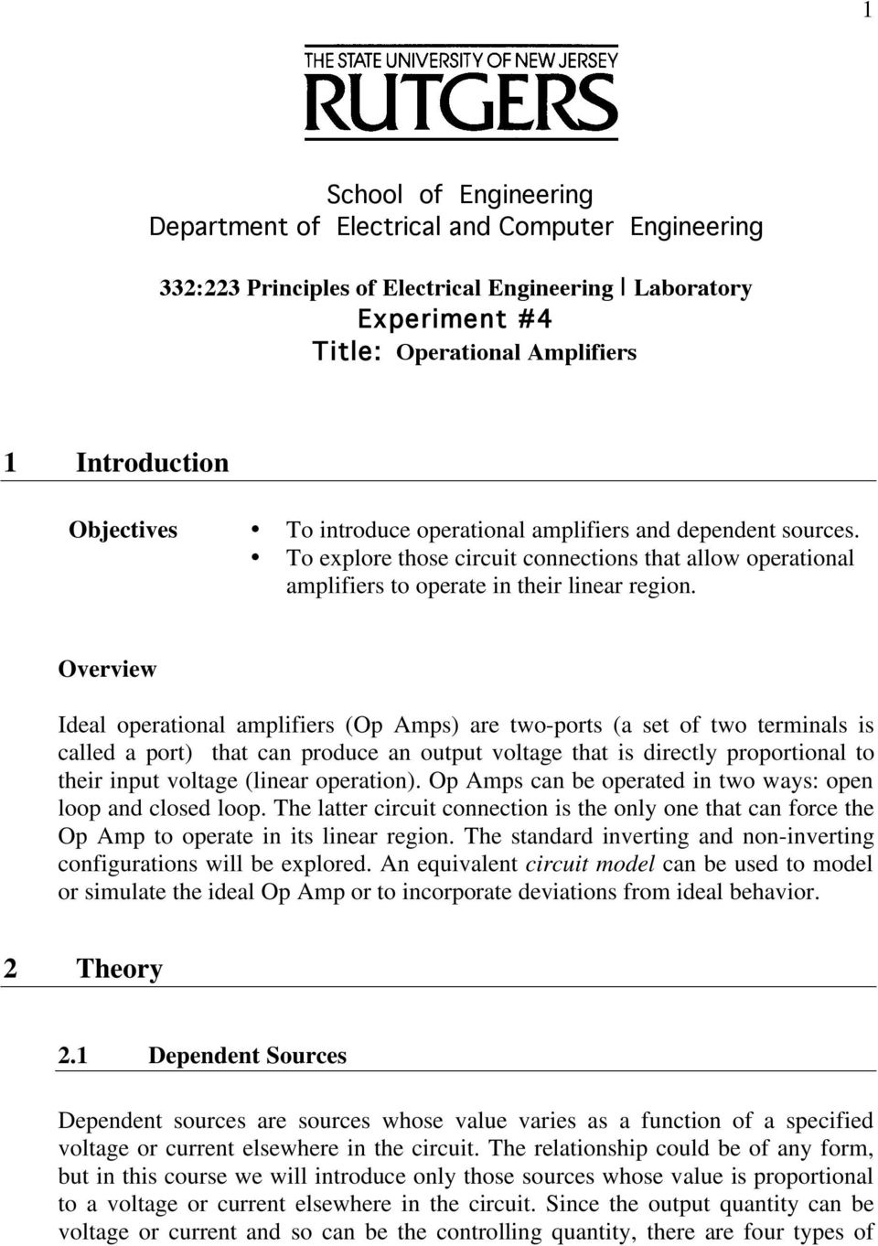 School Of Engineering Department Electrical And Computer Types Op Amp Circuits Overview Ideal Operational Amplifiers Amps Are Twoports A Set Two Terminals