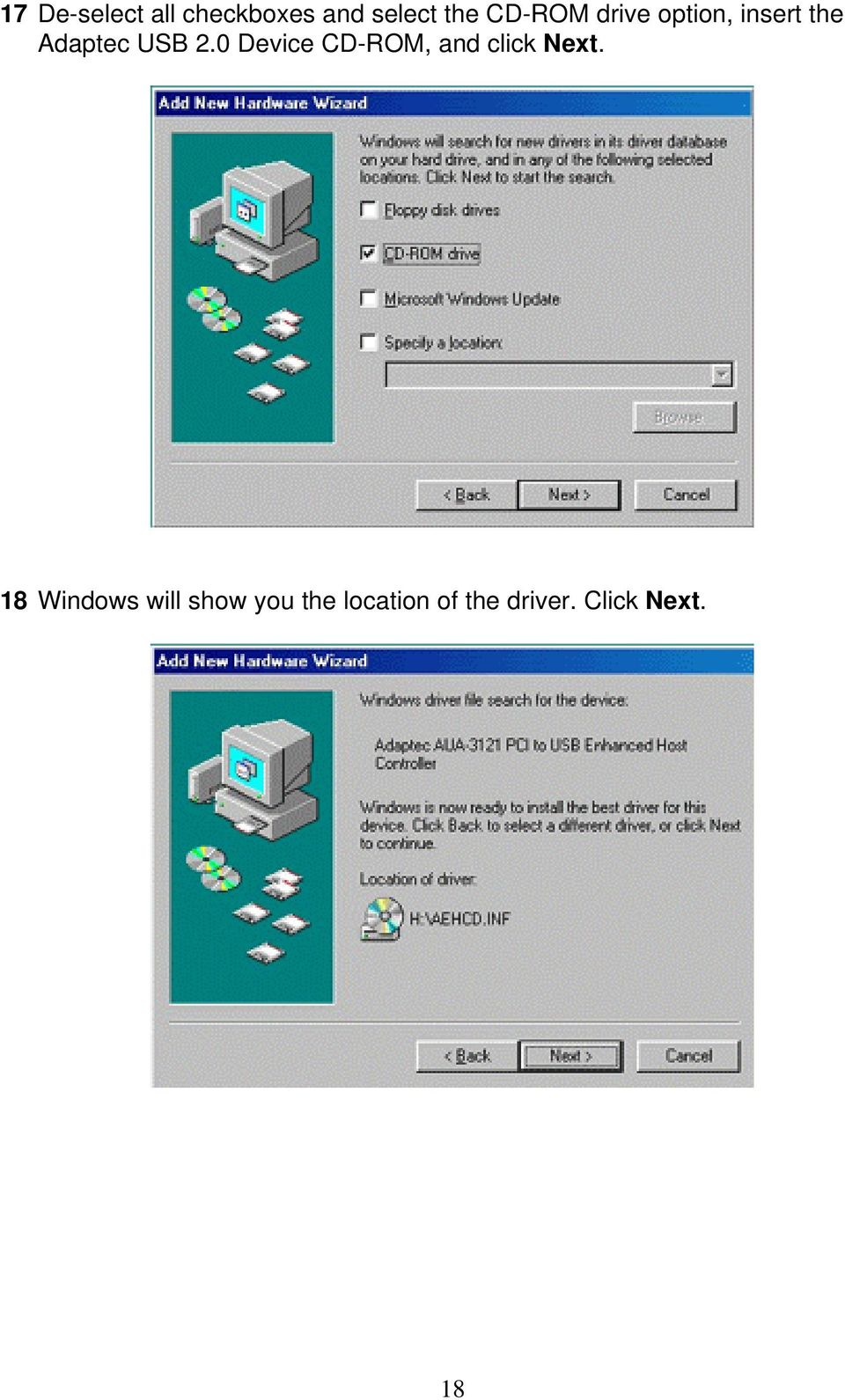 0 Device CD-ROM, and click Next.