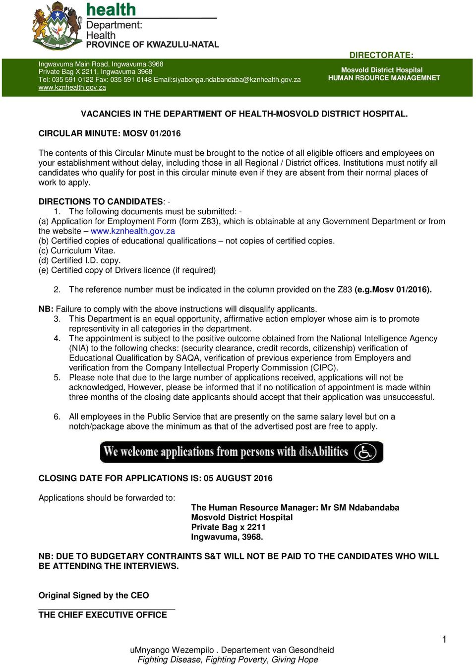 VACANCIES IN THE DEPARTMENT OF HEALTH-MOSVOLD DISTRICT