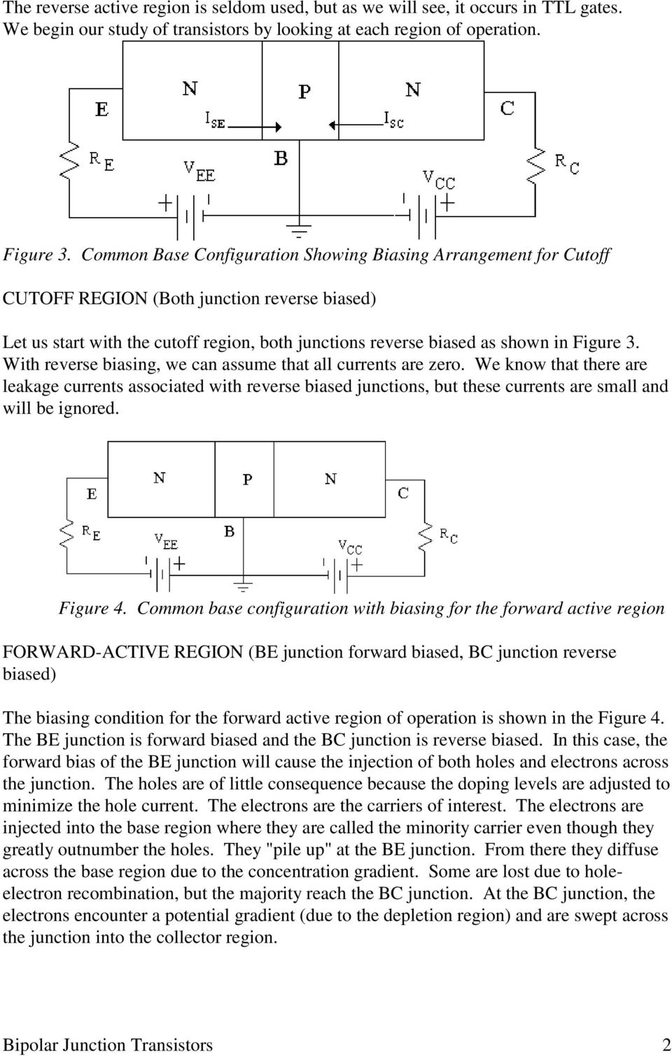 Bipolar Junction Transistors Pdf Transistor Circuits Example Of Designing Suppose 2 With Reverse Biasing We Can Assume That All Currents Are Zero Know