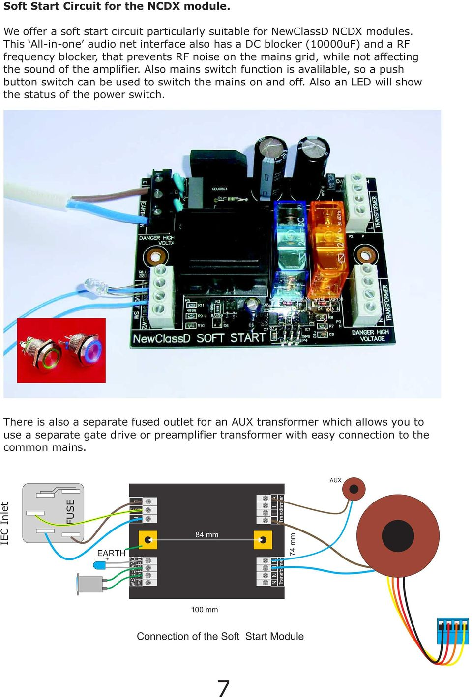 Newclassd Cookbook Ver Ncdx Advanced Class D Amplifier For Diy The Complete Circuit Will Be Powered By An 212v 24va Transformer Also Mains Switch Function Is Avalilable So A Push Button Can Used To