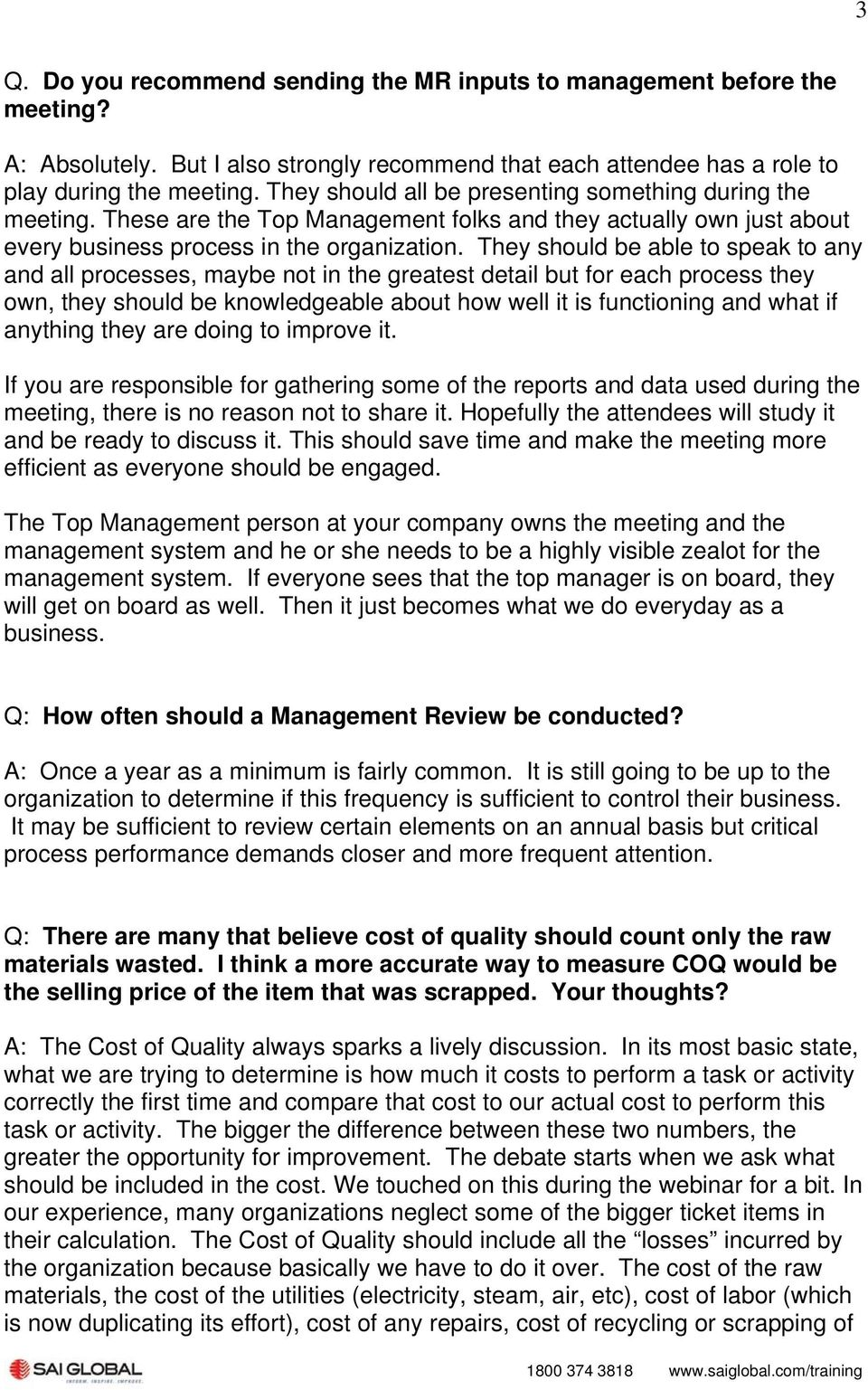 Improving Management Review Meetings Frequently Asked