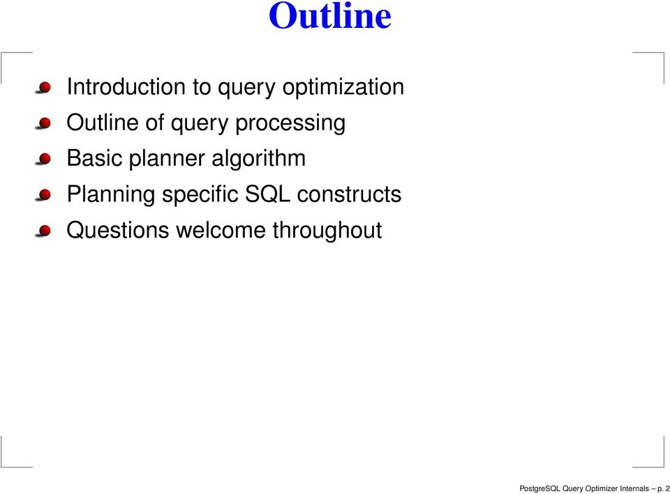algorithm Planning specific SQL constructs