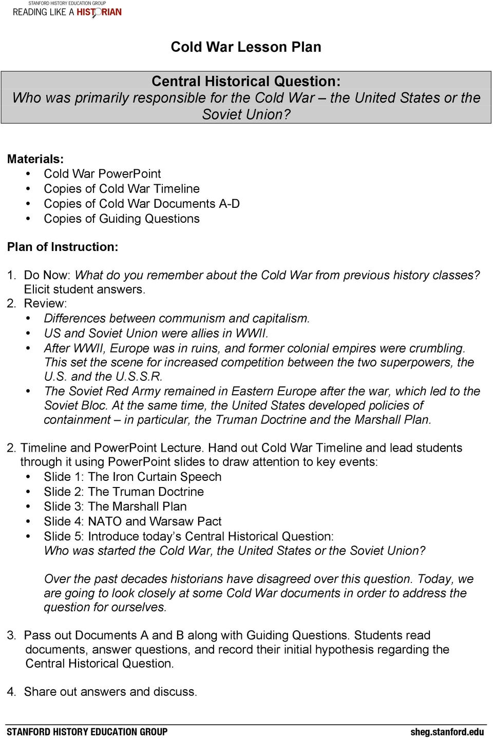 Cold war lesson plan central historical question who was primarily do now what do you remember about the cold war from previous history classes ibookread ePUb