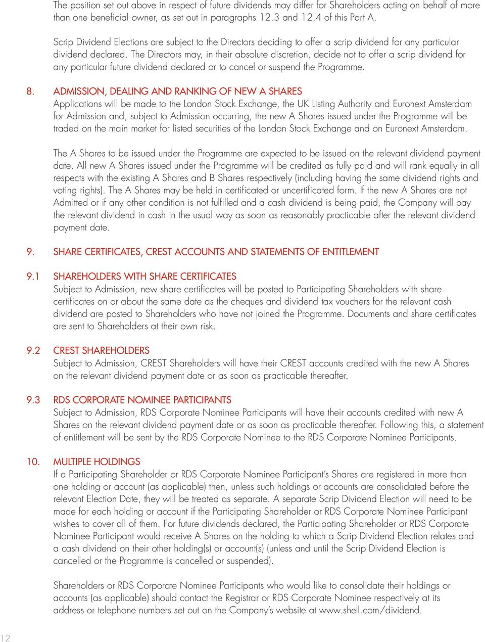ROYAL DUTCH SHELL PLC SCRIP DIVIDEND PROGRAMME TERMS AND