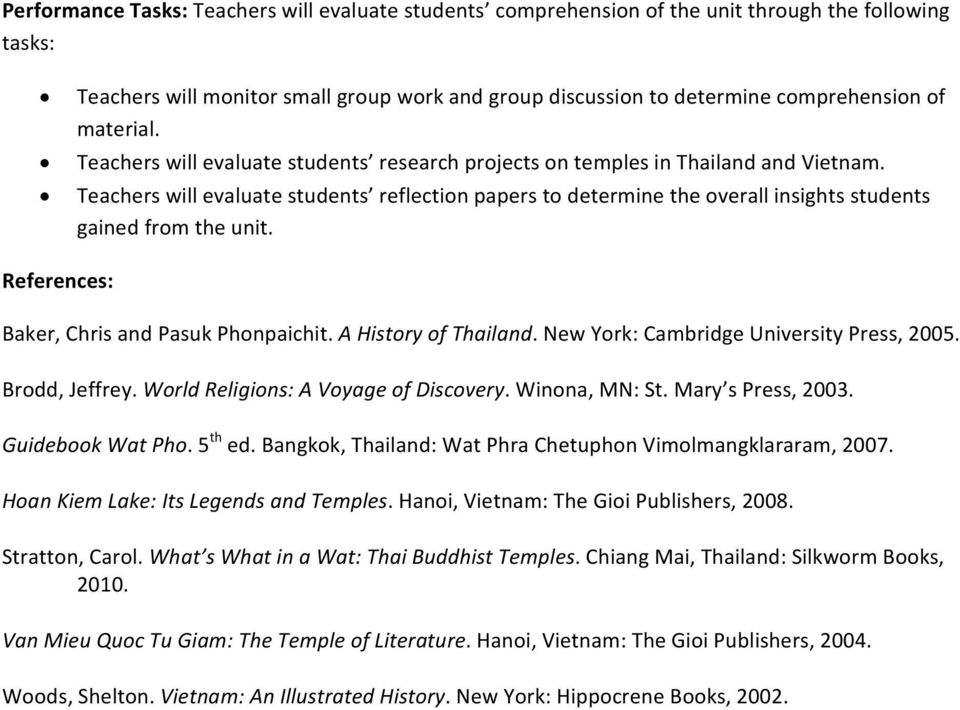 Teachers will evaluate students reflection papers to determine the overall insights students gained from the unit. References: Baker, Chris and Pasuk Phonpaichit. A History of Thailand.