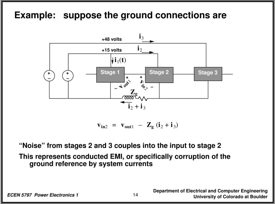 2 and 3 couples into the input to stage 2 This represents conducted EMI, or