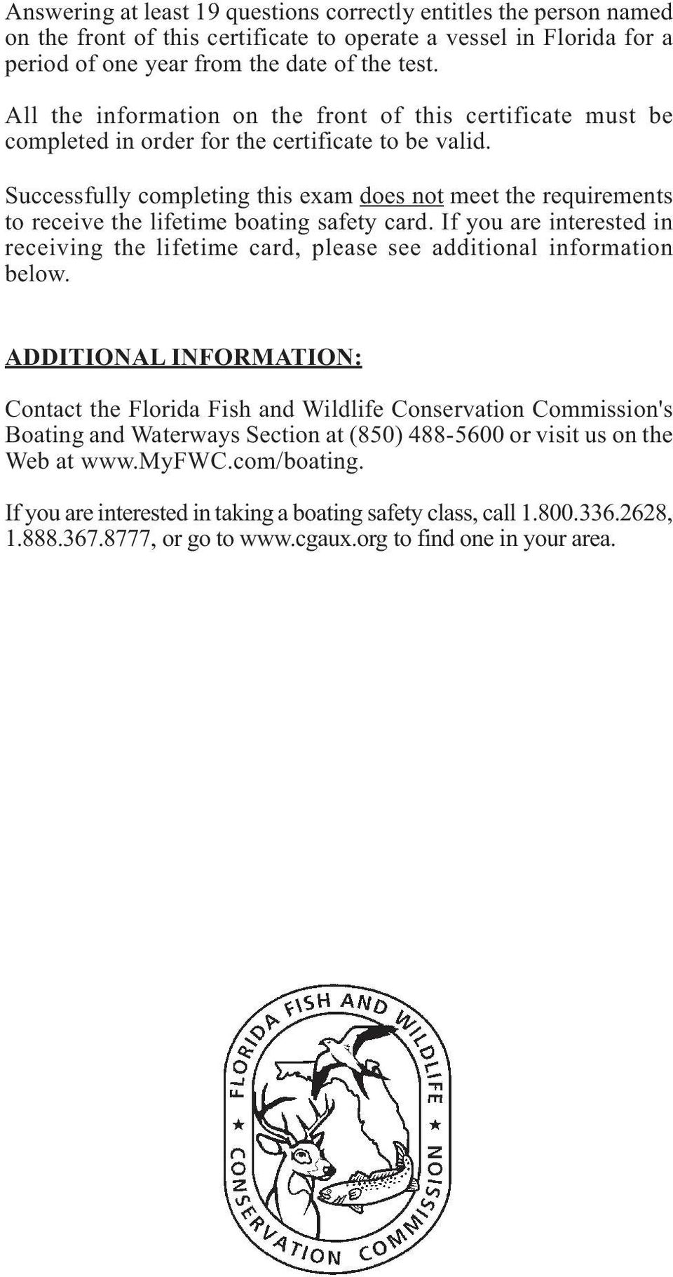 BOATER S COPY INSTRUCTIONS FOR PROCTOR: AFTER BOATER