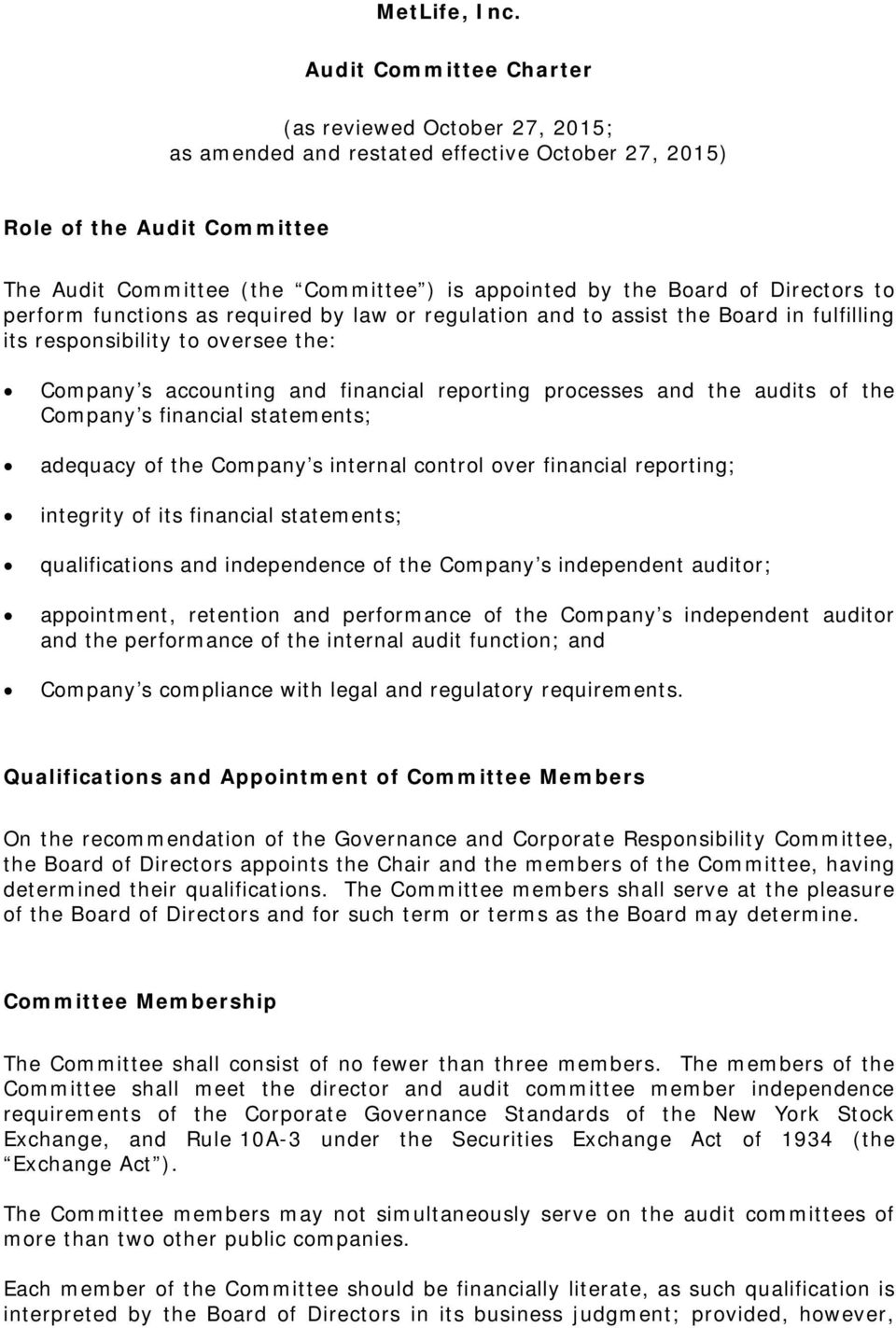 of Directors to perform functions as required by law or regulation and to assist the Board in fulfilling its responsibility to oversee the: Company s accounting and financial reporting processes and