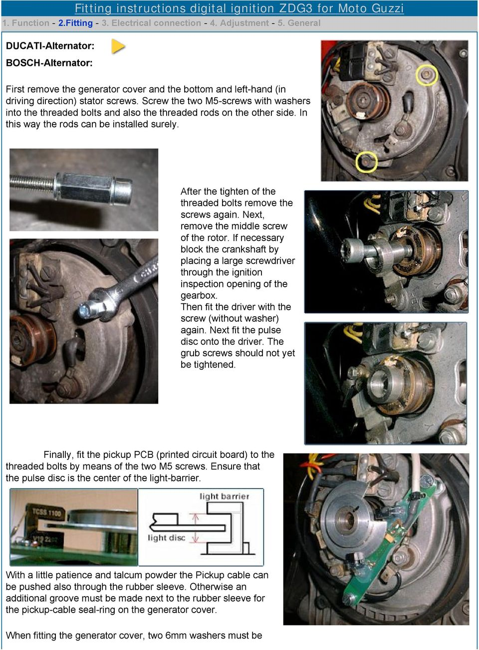Digital Ignition Zdg3 Pdf Spark Wiring 1994 Volvo Screw The Two M5 Screws With Washers Into Threaded Bolts And Also