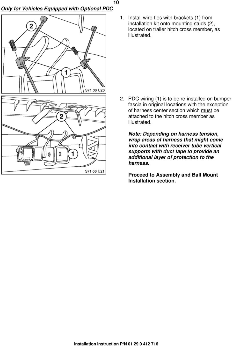 Installation Instructions Pdf Australian Wiring Harness In Addition Electric Trailer Brake Pdc 1 Is To Be Re Installed On Bumper Fascia Original