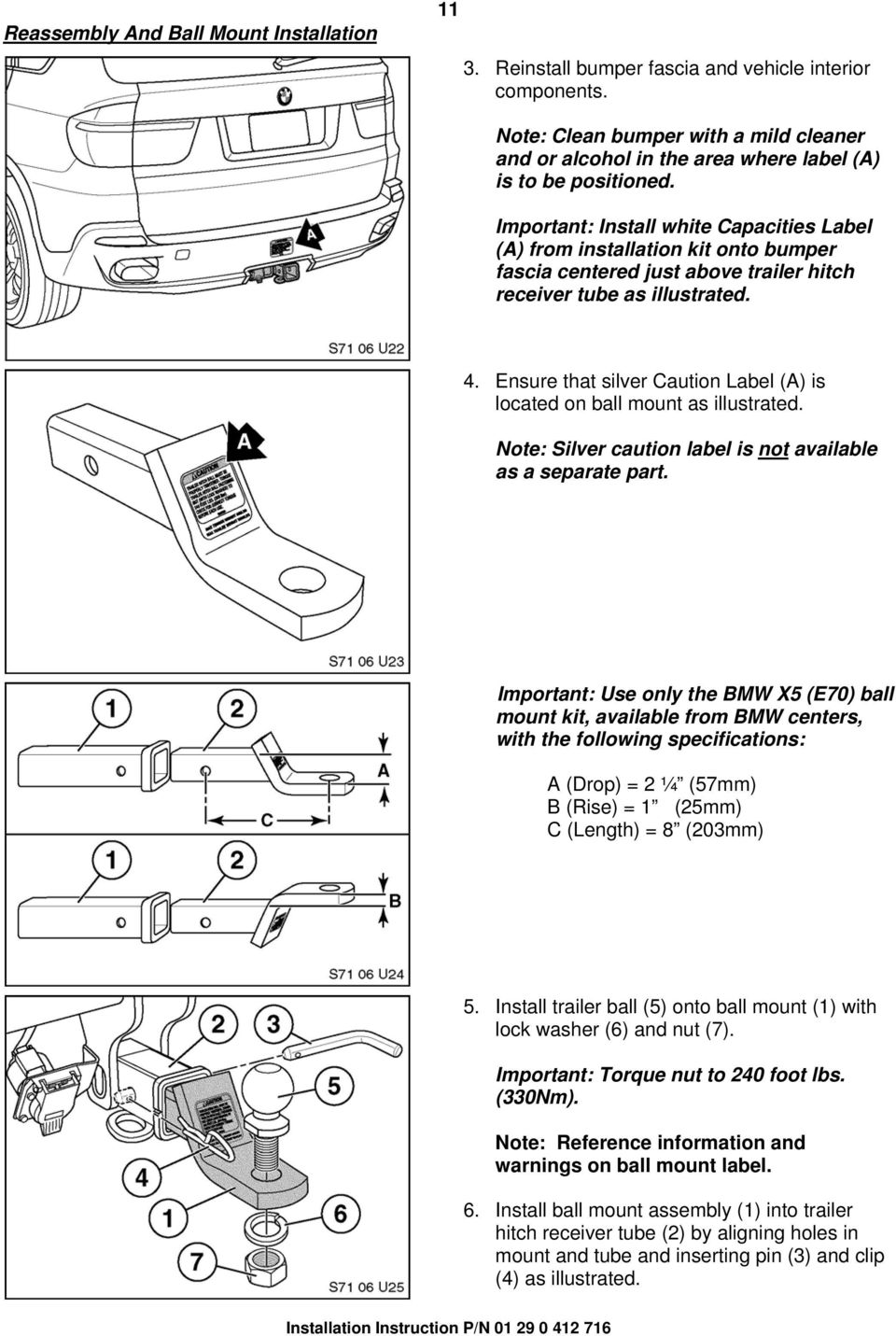 Installation Instructions Pdf How To Install A Trailer Wiring Harness On Volvo Xc90 Car Mods Important White Capacities Label From Kit Onto Bumper Fascia Centered