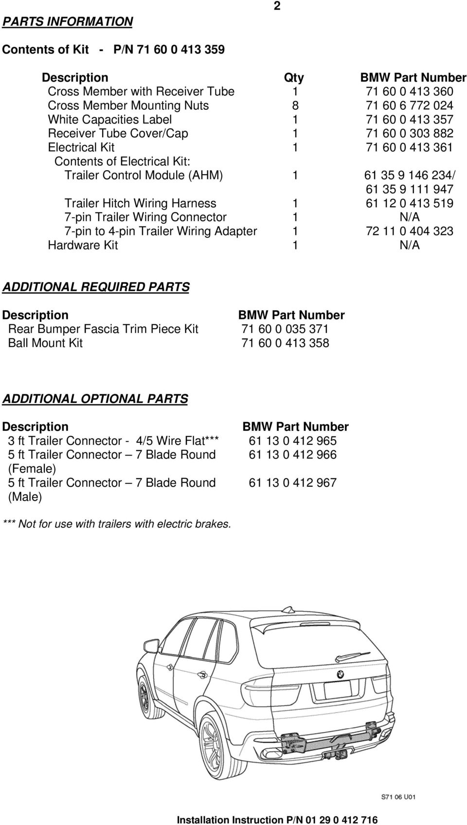 Installation Instructions Pdf 7 Wire Trailer Wiring Kit 947 Hitch Harness 1 61 12 0 413 519 Pin
