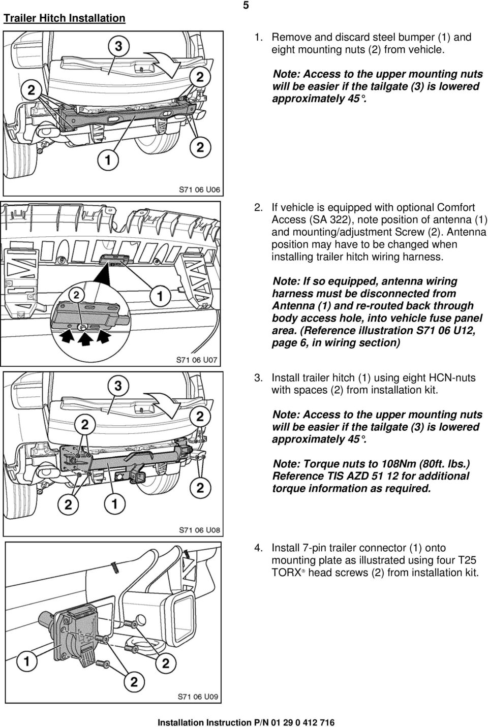 Installation Instructions Pdf Install Trailer Wiring Harness If Vehicle Is Equipped With Optional Comfort Access Sa 322 Note Position Of