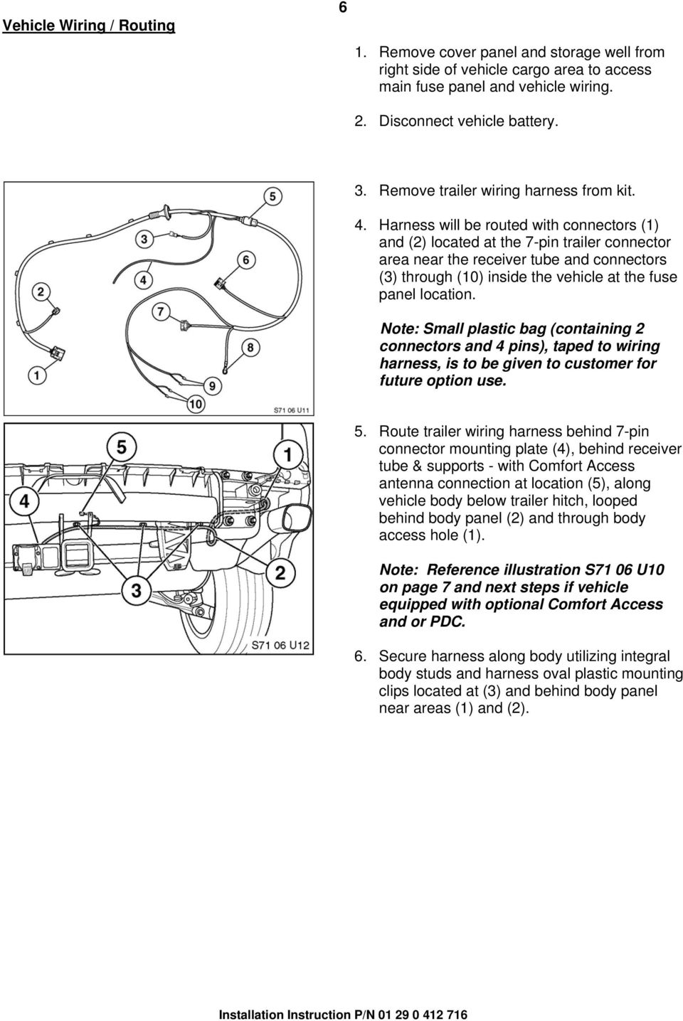 Installation Instructions Pdf 7 Pin Rv Wiring Harness Will Be Routed With Connectors 1 And 2 Located At The