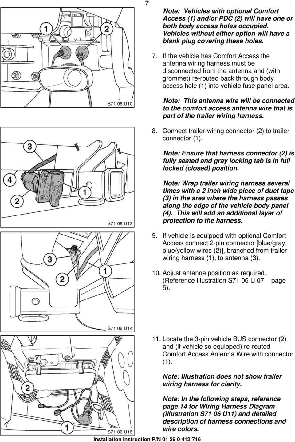 Installation Instructions Pdf Bmw X5 Trailer Wiring Harness Note This Antenna Wire Will Be Connected To The Comfort Access That Is