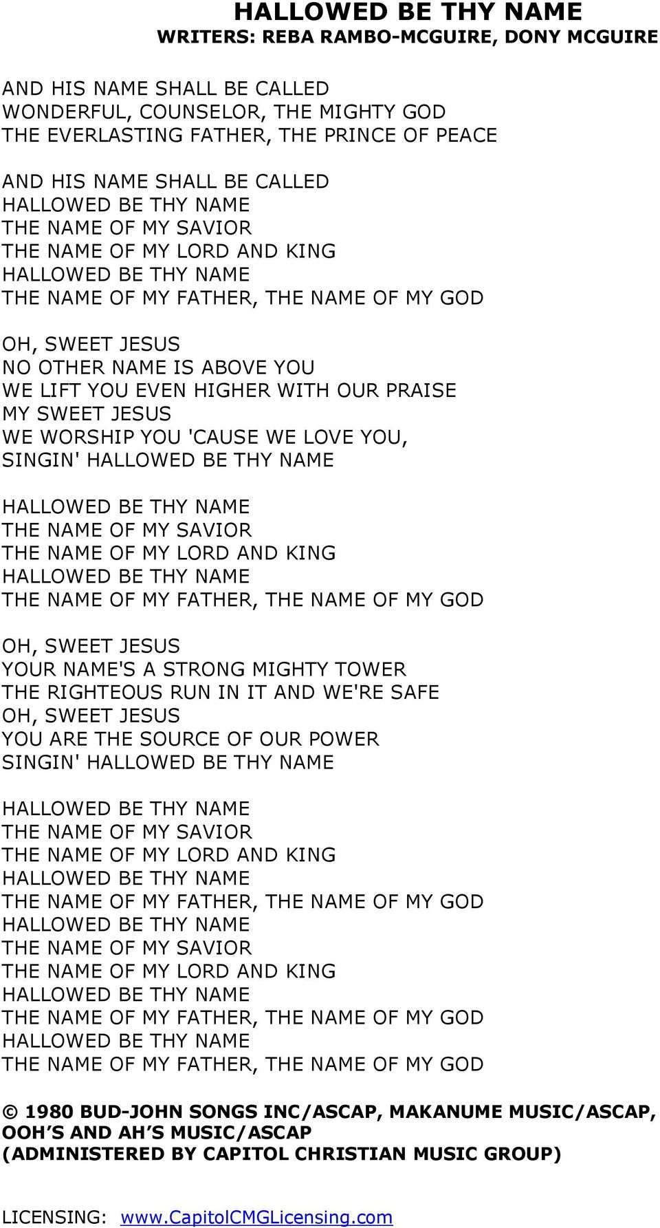 NAME OF MY LORD AND KING THE NAME OF MY FATHER, THE NAME OF MY GOD OH, SWEET JESUS YOUR NAME'S A STRONG MIGHTY TOWER THE RIGHTEOUS RUN IN IT AND WE'RE SAFE OH, SWEET JESUS YOU ARE THE SOURCE OF OUR