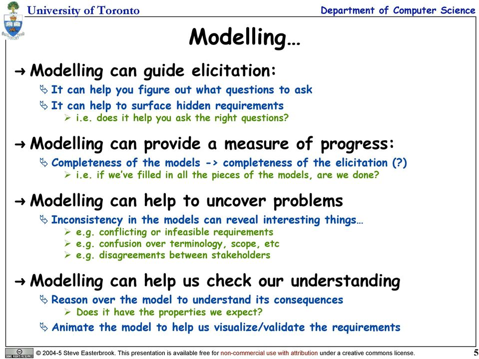 Modelling can help to uncover problems Inconsistency in the models can reveal interesting things e.g. conflicting or infeasible requirements e.g. confusion over terminology, scope, etc e.g. disagreements between stakeholders Modelling can help us check our understanding Reason over the model to understand its consequences Does it have the properties we expect?
