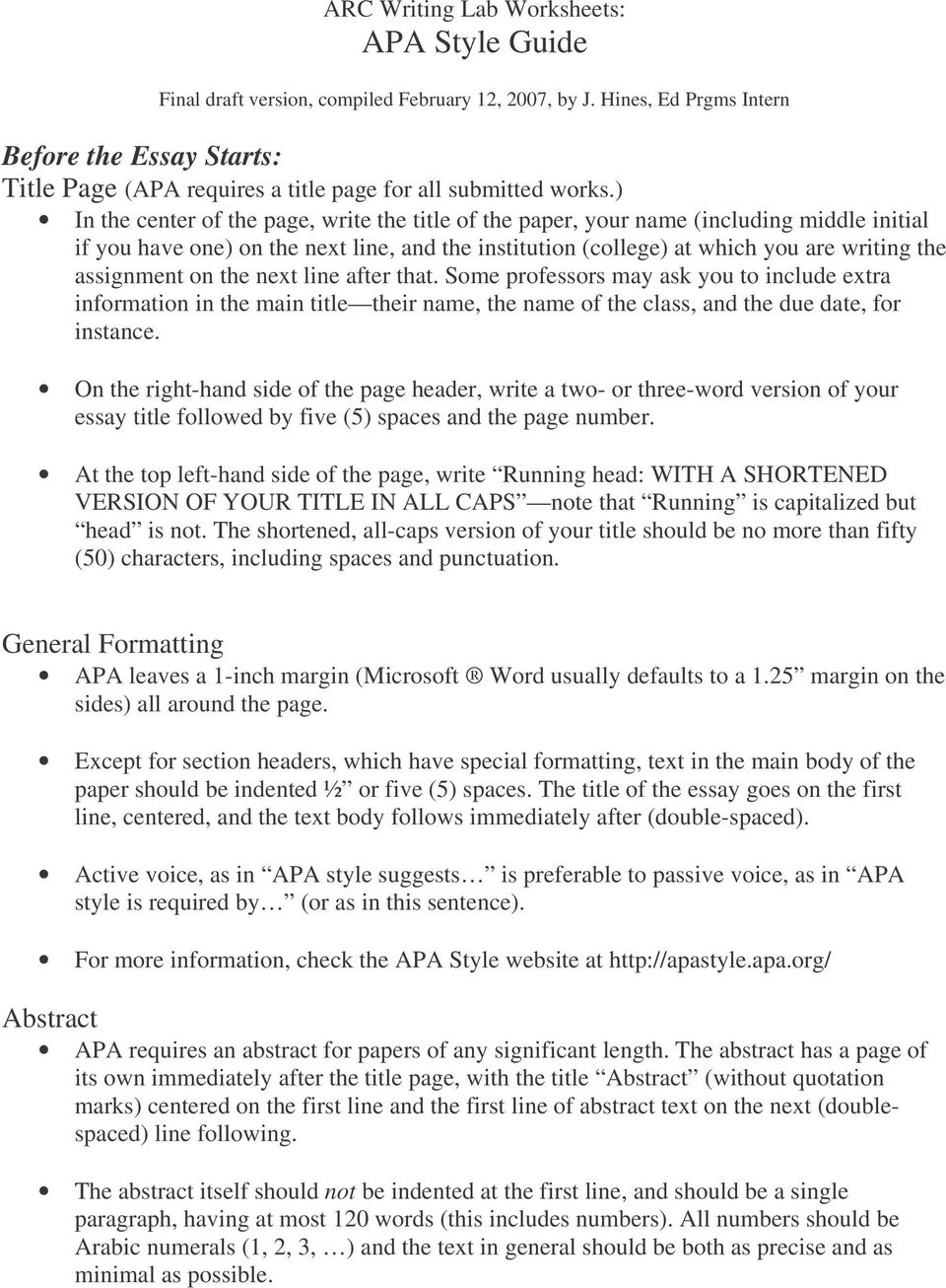 ARC Writing Lab Worksheets: APA Style Guide  Final draft