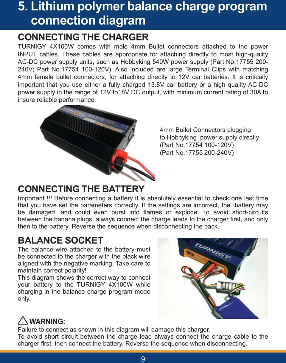 Operating Manual 4 Ports Output Balance Charger Discharger For Lipo Battery Pack Wiring Diagram Also Included Are Large Terminal Clips With Matching 4mm Female Bullet Connectors Attaching Directly