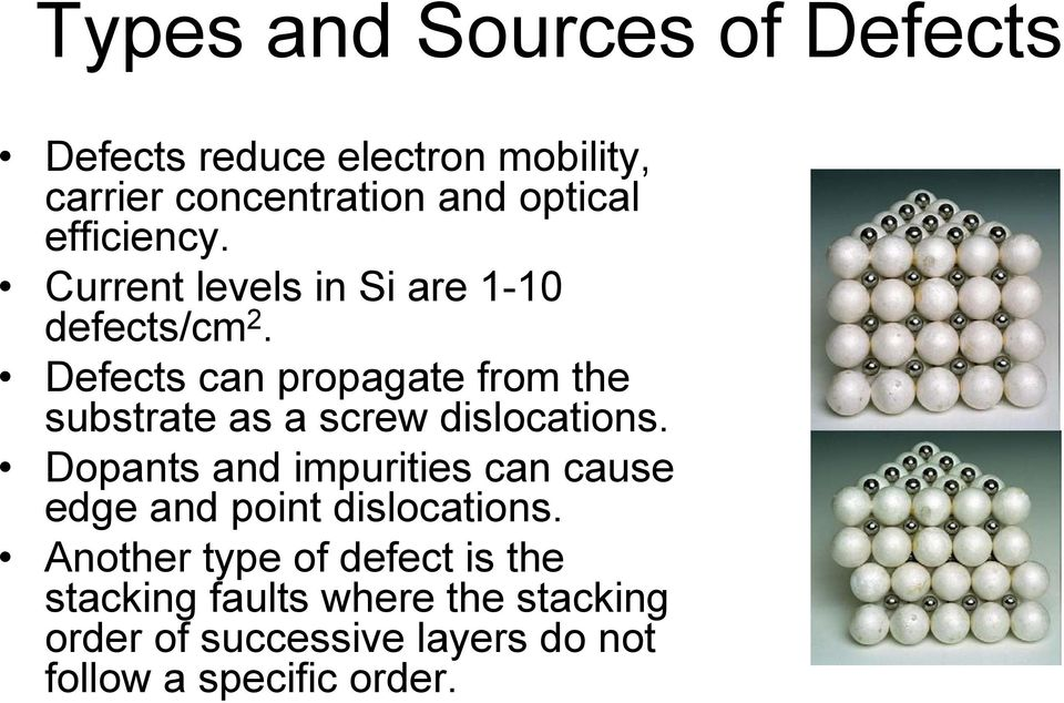 Defects can propagate from the substrate as a screw dislocations.