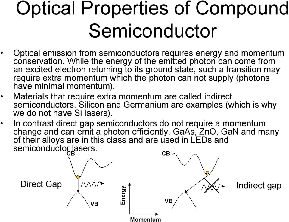 (photons have minimal momentum). Materials that require extra momentum are called indirect semiconductors. Silicon and Germanium are examples (which is why we do not have Si lasers).