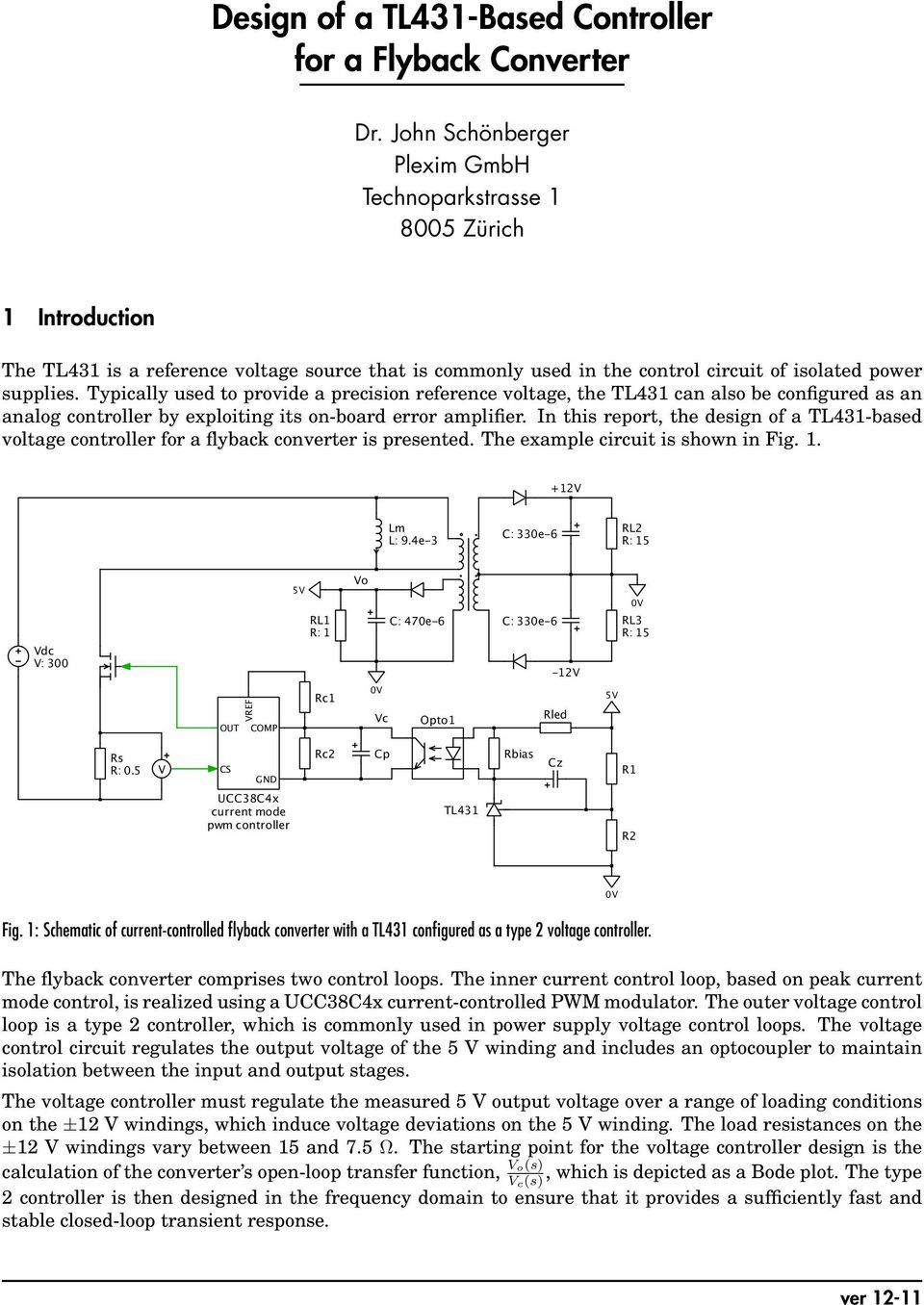 Design Of A Tl431 Based Controller For Flyback Converter Pdf Adjustable Regulator By Electronic Projects Circuits Typically Used To Provide Precision Reference Voltage The Can Also Be Configured As