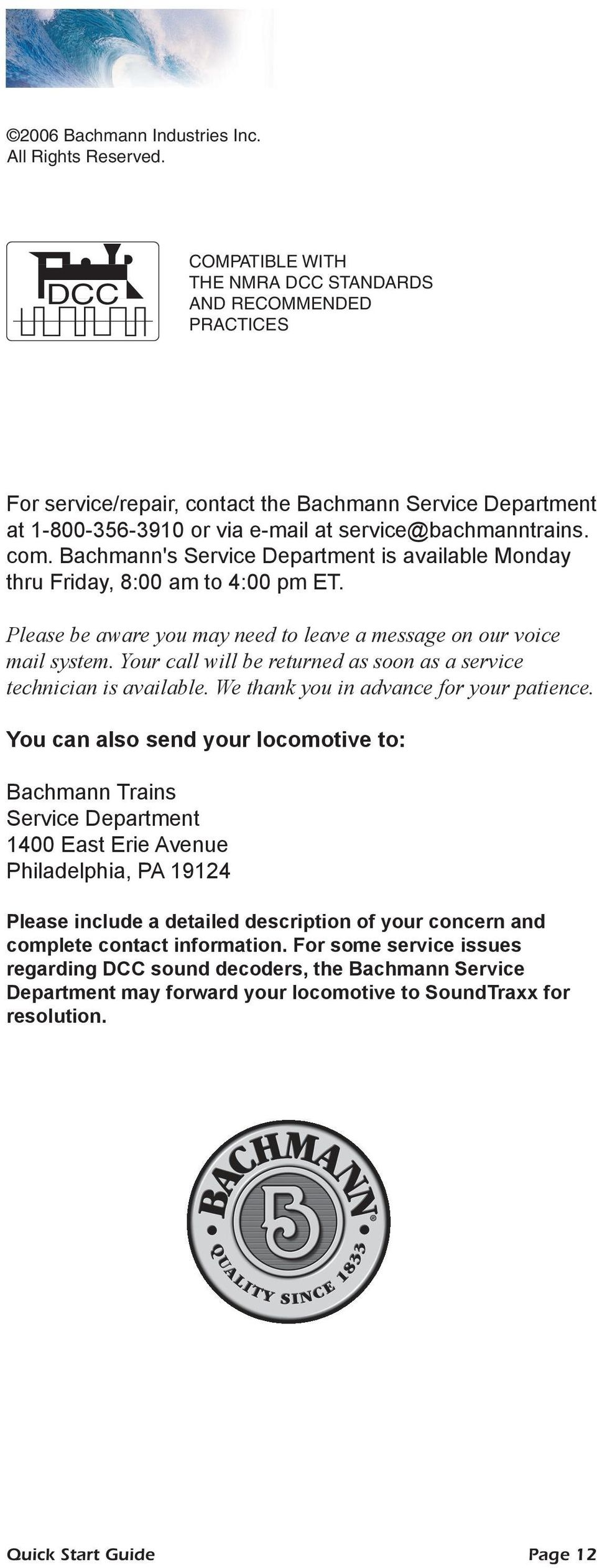Quick Start Guide For Bachmann Dcc Sound Equipped Locomotives Train Wiring Diagrams Bachmanns Service Department Is Available Monday Thru Friday 800 Am To 4