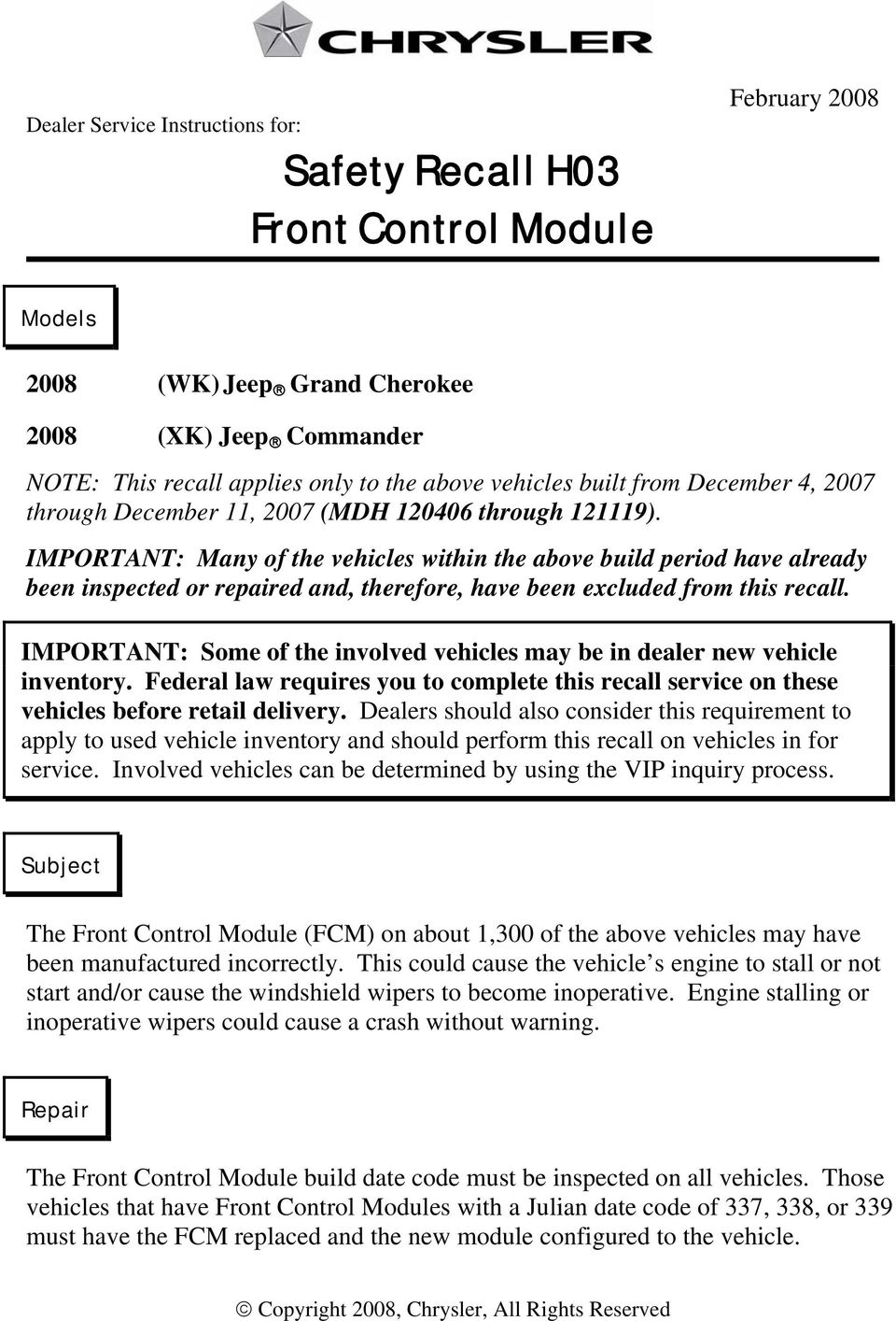 Important Many Of The Vehicles Within Above Build Period Have Already Been Inspected Or 2 Safety Recall H03 Front Control Module