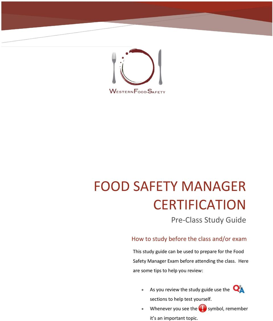 FOOD SAFETY MANAGER CERTIFICATION Pre-Class Study Guide - PDF